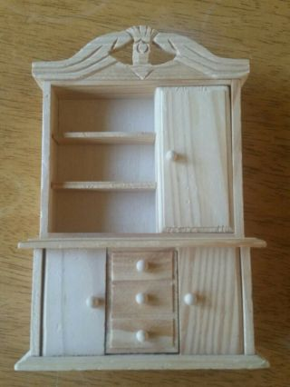 Ehi Wooden Dollhouse Cupboard,  Library Shelf.  Unfinished,  Early American Detail