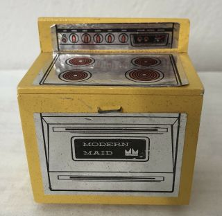 Vintage Dollhouse Wood Cooktop Stove & Oven,  Yellow.  Made By Hall's Toys