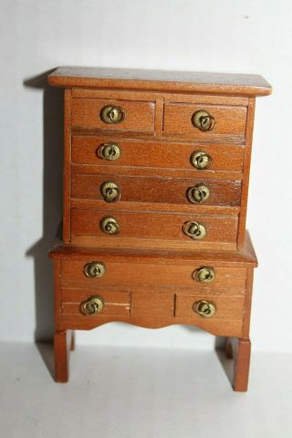Dollhouse Bedroom Furniture Brown Wooden Chest Of Drawers