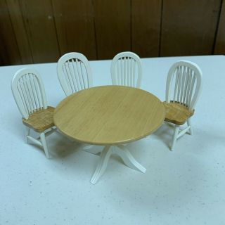Dollhouse Miniature 1/12 Wood Round Dining Table & 4 Chairs Set