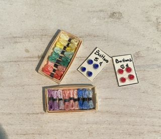 Miniature Dollhouse Sewing Items - Buttons And Thread Assortment