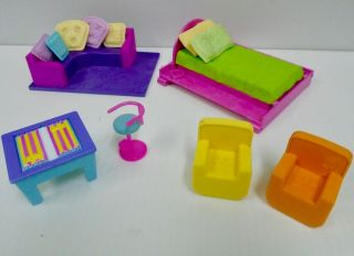 Polly Pocket Sparkle Style House Apt Furniture Bed Couch Pillows Flip Top Table