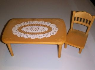 Dollhouse Miniature Table With Chair Faux Wood Plastic Dollhouse Furniture