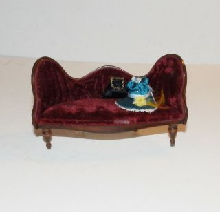 Dollhouse Wood Tufted Velvet Settee With Purse And Hat - Handmade Ooak