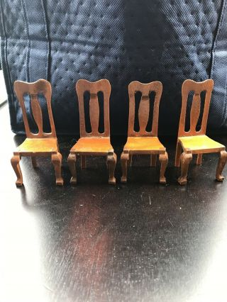 Set Of 4 Dollhouse Miniature Wooden Dining Room Chairs