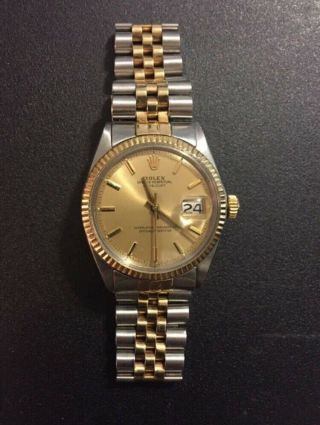 Rolex Datejust 14k Yellow Gold/steel Champagne Index Dial Mens 36mm Watch 1601