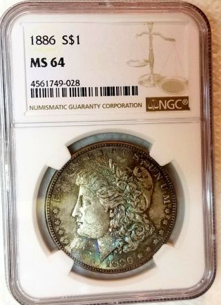 1886 - P Ngc Ms 64 Morgan Dollar 2 Sided Textile Rainbow Color Toned