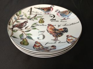 full set of 4 better homes  gardens 8 14  salad plates  12 days of christmas 1 23000 tmb - Better Homes And Gardens Amber Diamond Embroidered Bell Shade