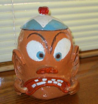 Really Creepy Ugly Hand Crafted Head W Hat Face Cookie Jar