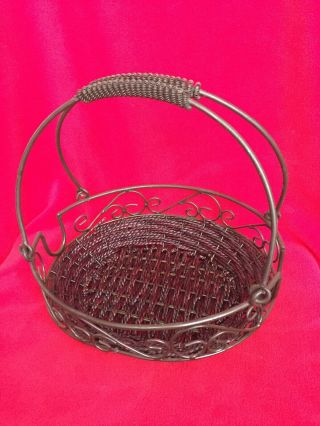 Home And Garden Party Oval Bean Pot Casserole 2 - Handle Carrying Wire Basket