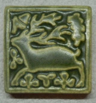 "Motawi Tileworks Medieval Stag 3 "" X 3 "" Arts And Crafts Celadon Green"
