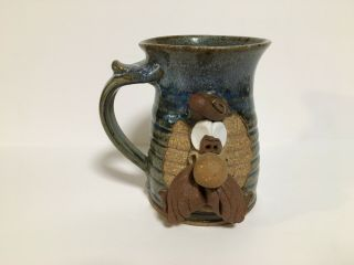 Vintage Whimsical Wagner Stoneware Hand Crafted Coffee Mug 3d Pottery