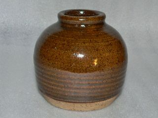"Stoneware Pottery Hand Crafted 3.  5 "" Vase ""eileen Frye"""