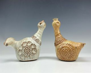 2 Signed Mystery Artist Hand Crafted Art Pottery Mid Century Bird Figurines 007