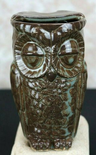 Glazed Owl Mug With Mustache Guard Hand Crafted Brown & Green