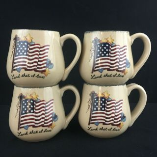 Set Of 4 Flag Mugs Home & Garden Party Stoneware Land That I Love Patriotic 16oz