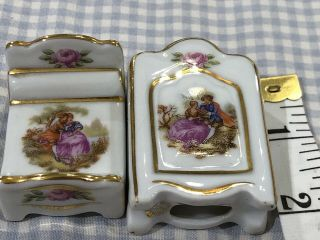 2 Piece Limoges France Miniature Dollhouse Furniture.  Bed &.  Armoire
