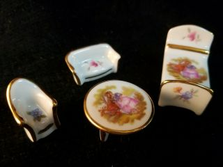 4 Pc Limoges France Miniature Dollhouse Furniture Doll Sofa Bed Chair & Table