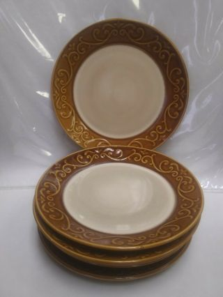 7 Better Homes And Garden Embossed Scroll Brown Rim Stoneware Salad Plates