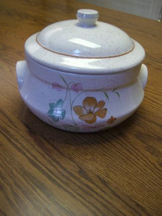Treasure Craft Ivory Brown Speckled Ceramic Casserole Dish & Lid/poppies