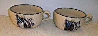 2003 Home & Garden Party American Flag Stoneware Soup Bowl,  Latte Cappa Mug/cup