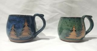 Studio Pottery Mugs Hand Crafted Thrown Stoneware Cup Signed Pair Rustic Vintage