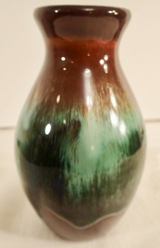 "Ccc Pottery Canadian Ceramic Craft Short Vase Brown Green Drip Glaze 5 3/4 "" Tall"