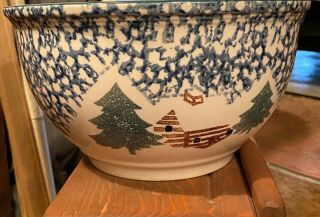 "Large Folk Craft Cabin In The Snow 10 5/8 "" X 6 "" Serving Bowl By Tienshan"