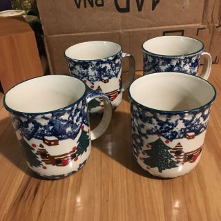 Set Of 4 Coffee Mugs - Tienshan Cabin In The Snow Folk Craft