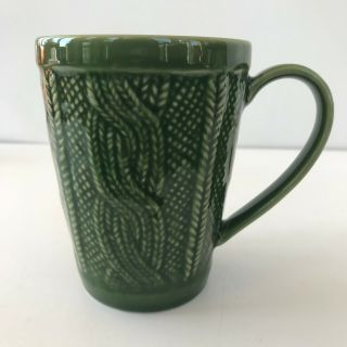Green Ceramic Coffee Mug Tea Cup Knitting Knit Cable Sweater Craft Fiber Art