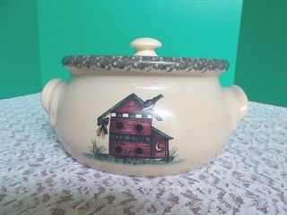 2002 Home & Garden Party Ltd.  Pottery Casserole Dish With Lid - Birdhouses
