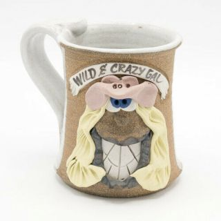 Vintage Cowgirl Wild Crazy Gal Funny Face Mug 3d Hand Crafted Stoneware Pottery