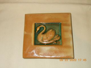 Moravian Tile Mercer Pottery Art & Crafts Style Swan Dated 1992