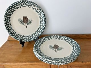 Set Of 4 Tienshan Folk Craft Pinecone Country Dinner Plates 10 1/4""