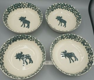 4 Tienshan Folk Craft Moose Country Soup Cereal Bowls Discontinued Green Sponge