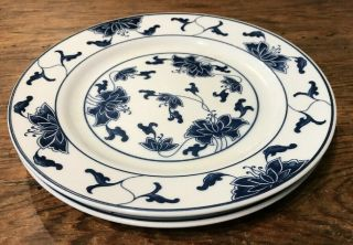Tatung Durable China Cobalt Blue & White Floral Salad Or Lunch Plates