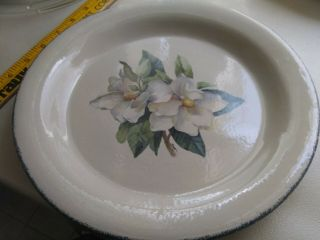 "Home & Garden Party Magnolia Dinner Plate 10 1/2 "" Plate White Flower Euc No Flaw"