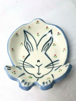 Signed Lori Ellyn Hand Crafted Bunny Trinket Dish White Blue Trim Pink Floral