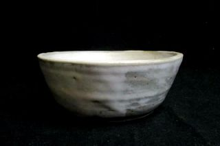 Hand Crafted Pottery Bowl Signed Wjb Gray White 7in Diameter