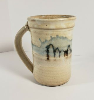 """Hand Crafted Studio Art Pottery Mug Signed Rusty 04 Blue Browns 4.  5 """""""