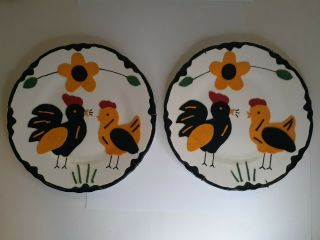 """Collectable Rooster/chicken Plates Felt & Painted Arts & Crafts 9¼ """""""