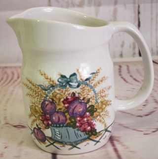 """Vintage Treasure Craft Pottery """" French Market Creamer Pitcher 6 """" Tall 1984"""