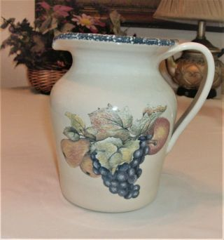 "Fruit By Home & Garden Party 7.  5 "" Pitcher Italian Fruit Design Stoneware"