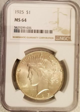 1925 Peace Dollar Ngc Ms64 Looks Solid Gem Bu Textile Reverse