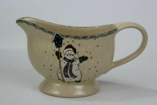 Home & Garden Party Stoneware Snowman Gravy Boat 2000 Made In Usa