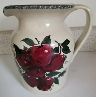 Home And & Garden Party Ltd 1999 Stoneware Beverage Pitcher Red Apples