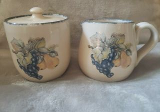 Home & Garden Party Ltd Fruit Pattern Sugar Bowl And Creamer Retired Stoneware