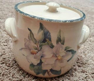 Home & Garden Party Usa Magnolia Bean Pot With Lid Handled 6 1/4 ""
