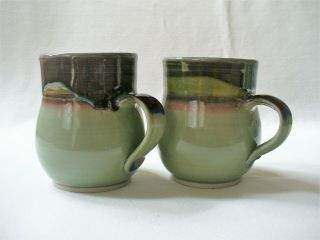 2pc Sage Green Coffee Mugs Hand Thrown Pottery Studio Crafted Signed Drip Glazed