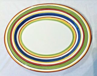 Tabletops Unlimited Lasamba Hand Painted Large Oval Platter Bright Rings Euc